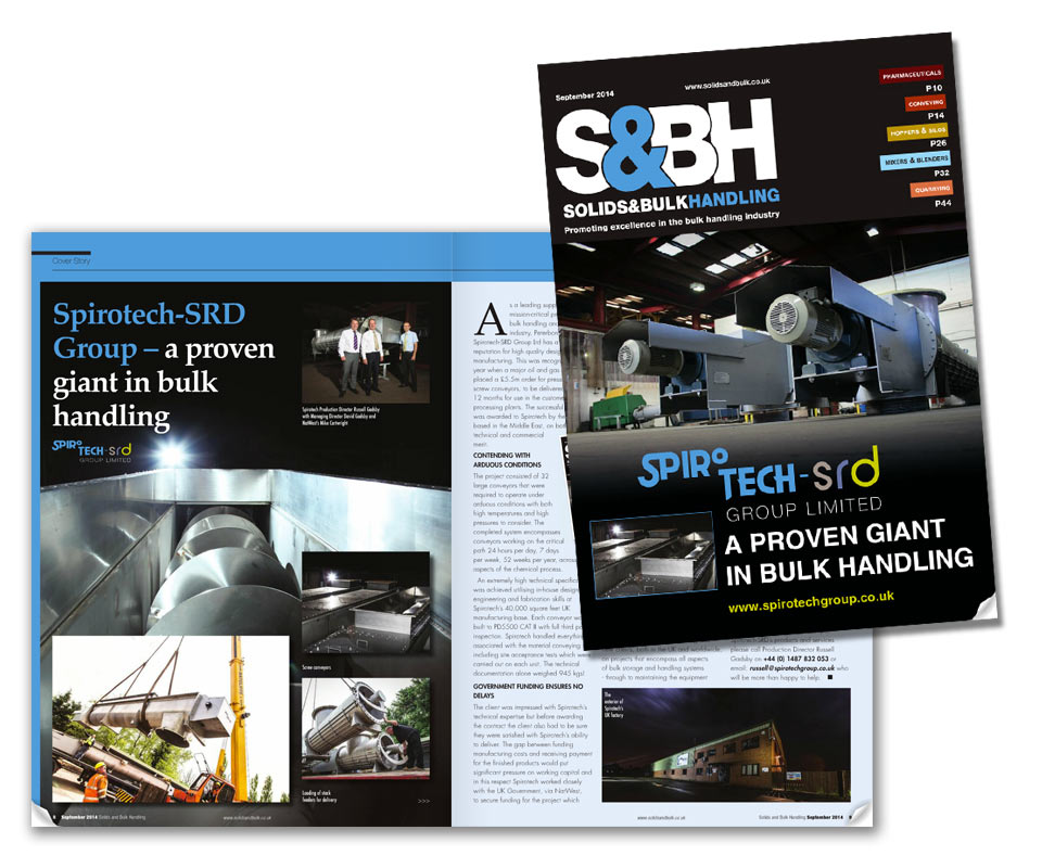 Spirotech take centre stage in Solids & Bulk Handling Magazine?