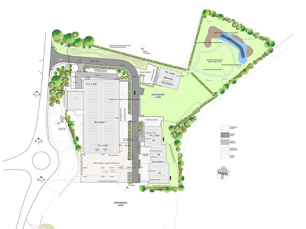 Plan of Spirotech's new Smart Factory development close to the A1 at Sawtry, Cambridgeshire