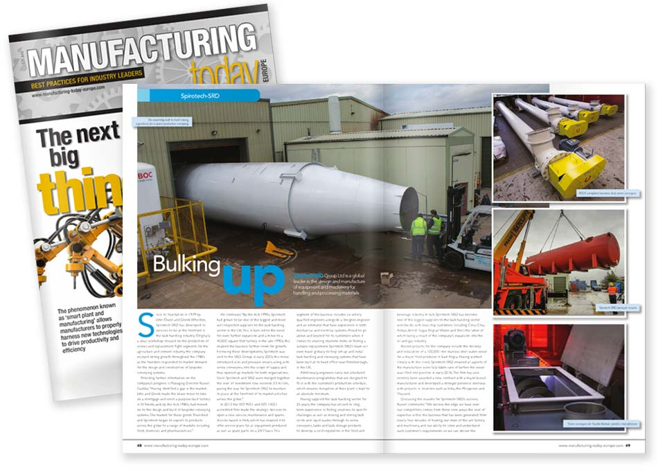Spirotech in Manufacturing Today Europe magazine