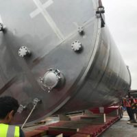 Two 120,000 litre stainless steel whisky vessels