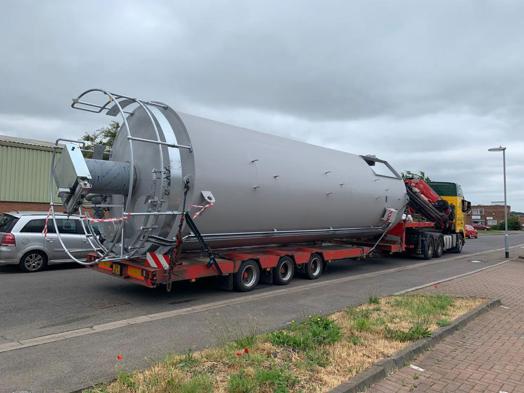 Storage silo for water treatment facility leaves Spirotech Group factory