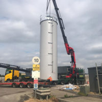 Installation of storage silo at water treatment facility