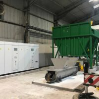 hopper and screw conveyors for waste food recycling system