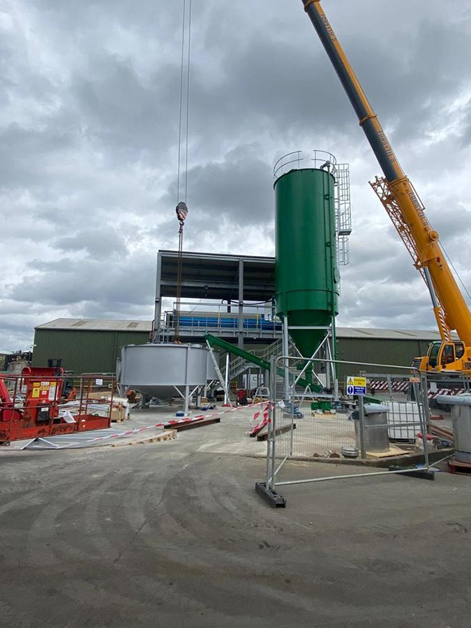 Stainless steel ash slurry mix tanks and carbon steel silos