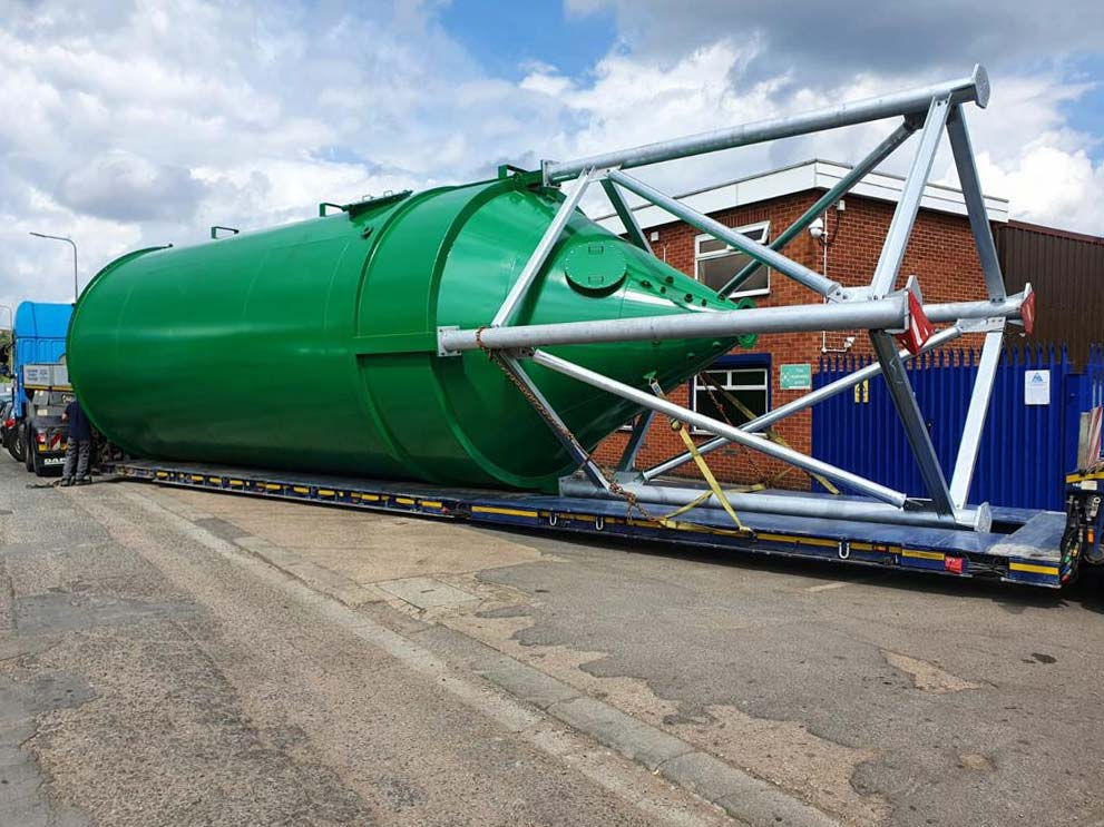 Environmental project Carbon steel silos ready for transport